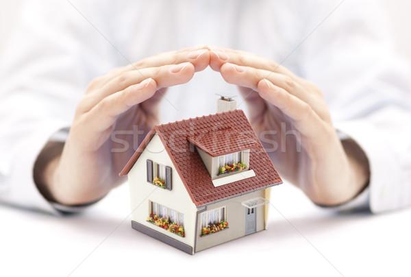 Stockfoto: Huis · handen · gebouw · bouw · veiligheid