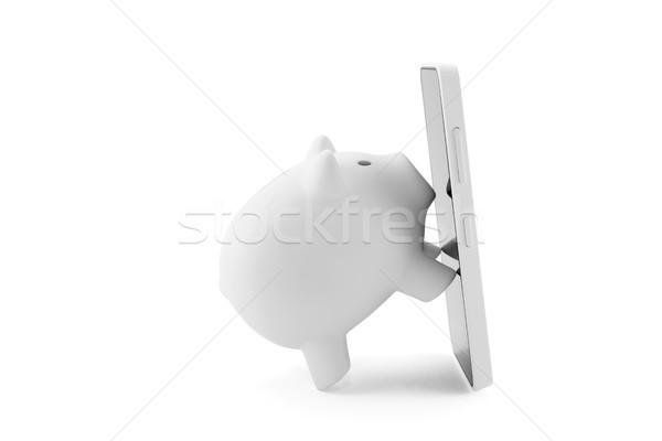 Foto stock: Blanco · alcancía · teléfono · móvil · tecnología · contacto · móviles