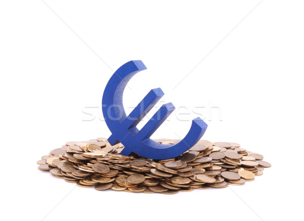 Blue euro symbol with pile of coins Stock photo © sqback