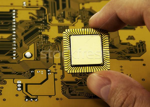 Parmaklar cpu soyut bilim dijital Stok fotoğraf © sqback