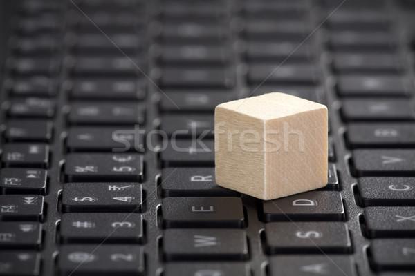 木製 ノートパソコンのキーボード インターネット 木材 ノートパソコン キーボード ストックフォト © sqback