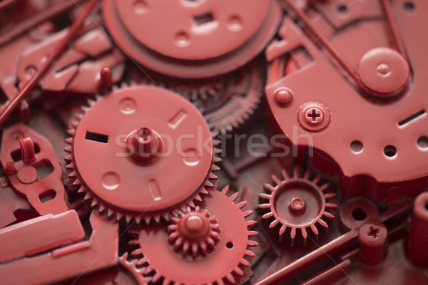 Red gears and cogs macro shot, industrial background  Stock photo © sqback