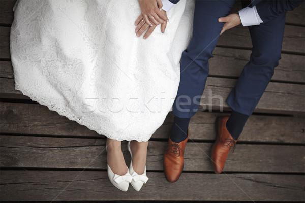 Wedding Coppia seduta legno pier mani Foto d'archivio © sqback