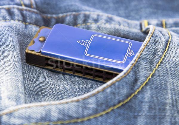 Blu armonica tasca musica jazz paese Foto d'archivio © sqback