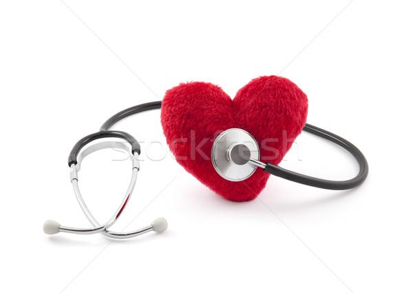 медицинской стетоскоп красный плюш сердце металл Сток-фото © sqback