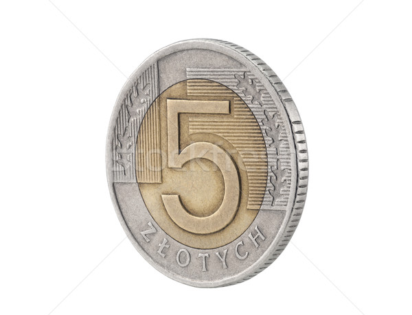 Five Polish Zloty coin isolated on white with clipping path  Stock photo © sqback