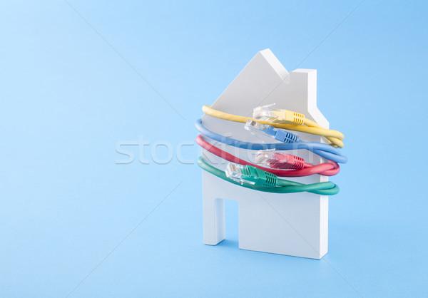 Ev ağ Sunucu kablo iletişim hızlandırmak Stok fotoğraf © sqback