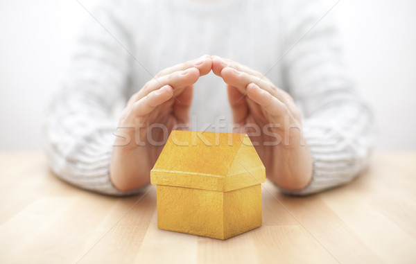 Small yellow house protected by hands  Stock photo © sqback