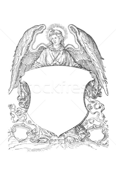 angel with coat of arms from 16th century Stock photo © sqback
