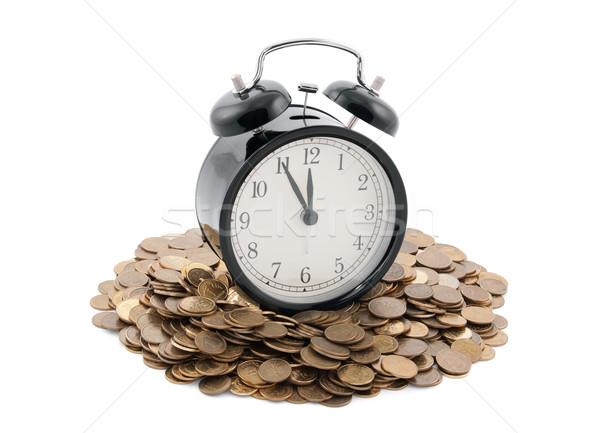 Tijd is geld wekker munten klok metaal Stockfoto © sqback