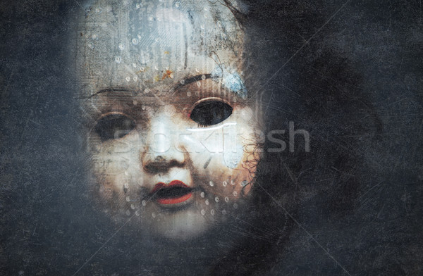 Creepy doll face, cyberpunk style Stock photo © sqback