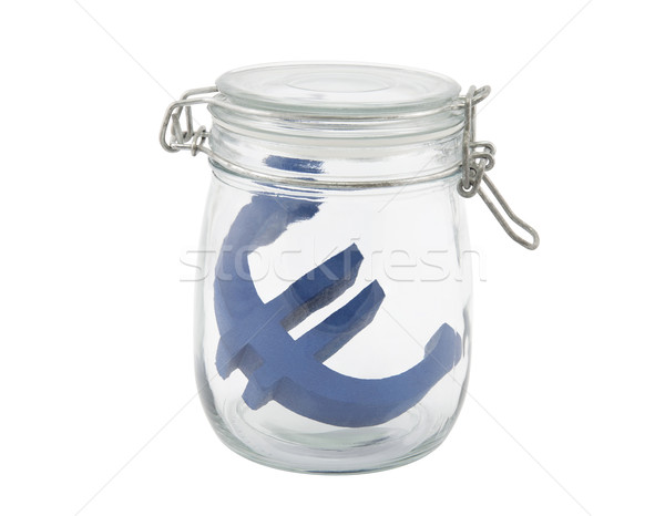 Blue euro symbol in a glass jar with clipping path Stock photo © sqback