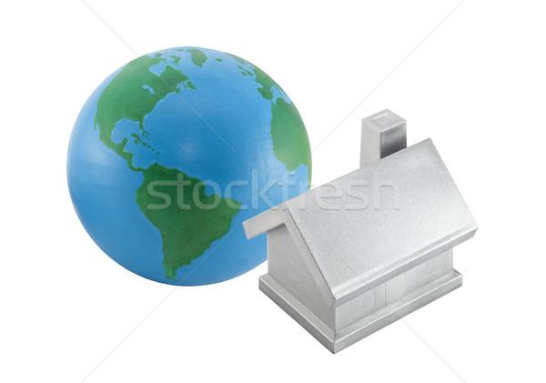 Foto stock: Plata · casa · mundo · aislado · blanco · edificio