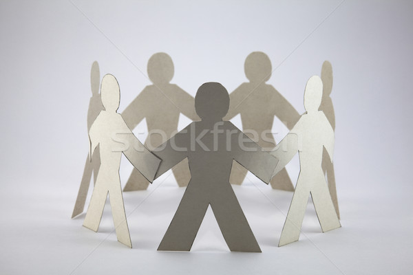 Papier chaîne personnes réunion foule amis Photo stock © sqback