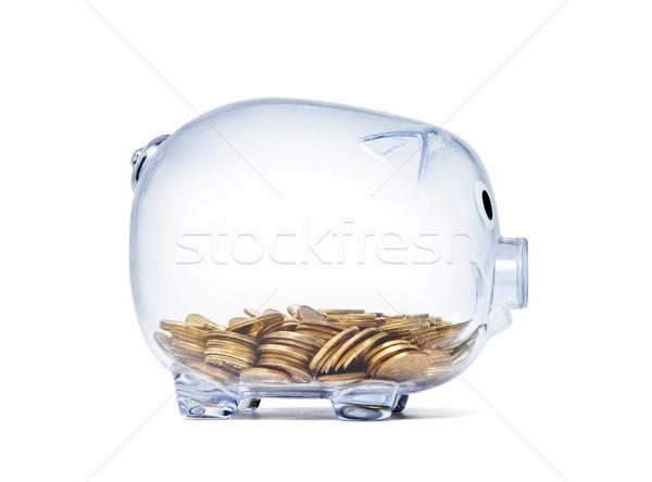 şeffaf kumbara altın madeni para beyaz Stok fotoğraf © sqback