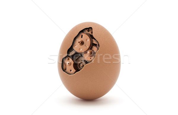 Gépi tojás izolált fehér vágási körvonal húsvét Stock fotó © sqback