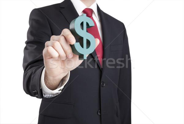 Geschäftsmann halten Dollarzeichen Zeichen Anzug Stock foto © sqback