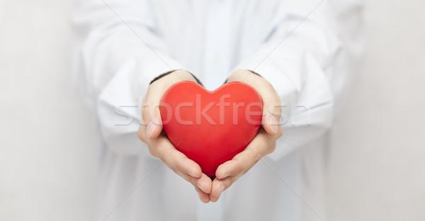 Zorgverzekering liefde gezondheid geneeskunde helpen Rood Stockfoto © sqback