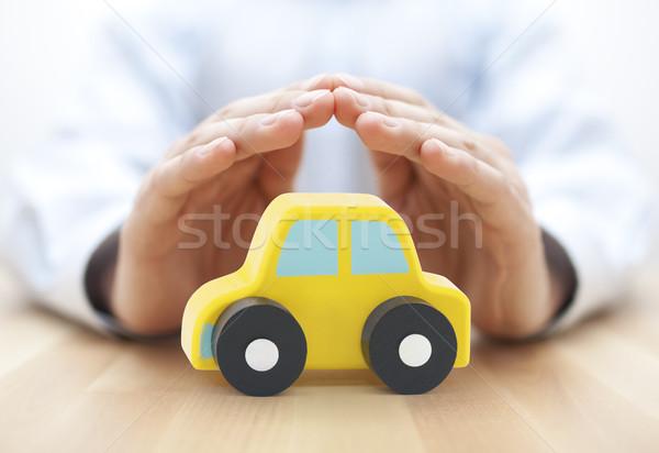Foto stock: Coche · seguro · manos · mano · juguete · servicio