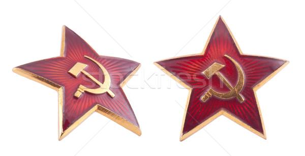 Szovjet piros csillag kitűző vágási körvonal arany Stock fotó © sqback