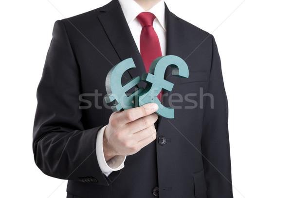 Empresário euro libra sinais Foto stock © sqback