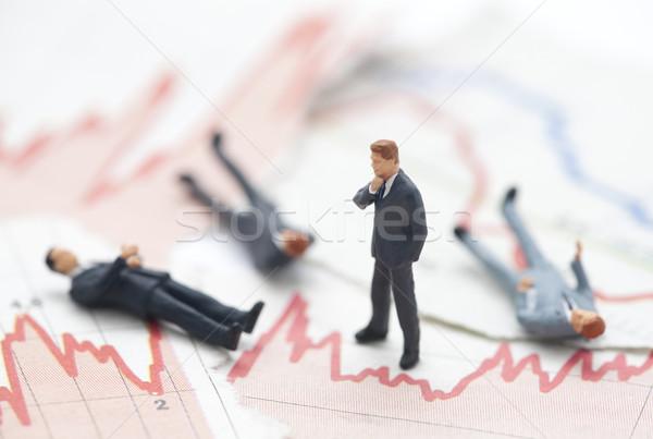 Finanzkrise Geschäftsmann finanziellen Charts Mann Zeitung Stock foto © sqback