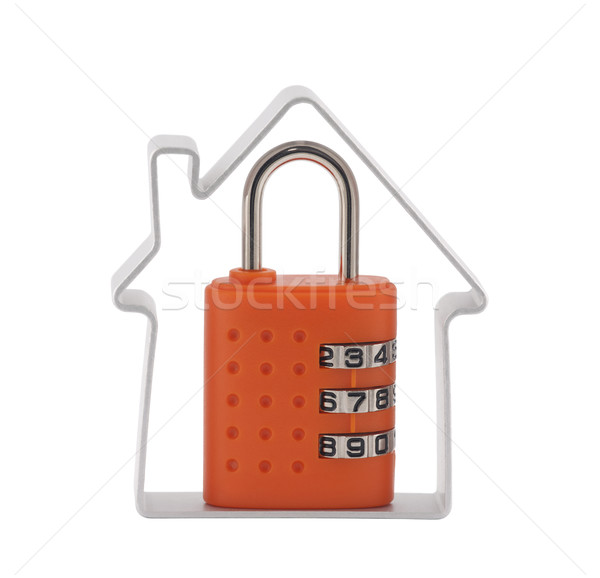 House and orange combination padlock with clipping path Stock photo © sqback