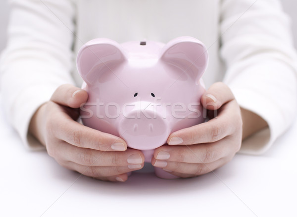 Piggy bank protected by hands Stock photo © sqback