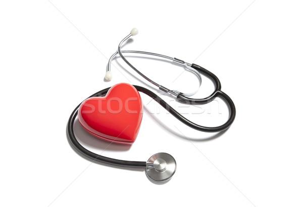 Tıbbi stetoskop kırmızı kalp tıp araç Stok fotoğraf © sqback