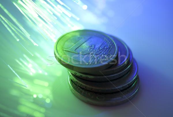 Euros monedas fibra óptica negocios metal Foto stock © sqback