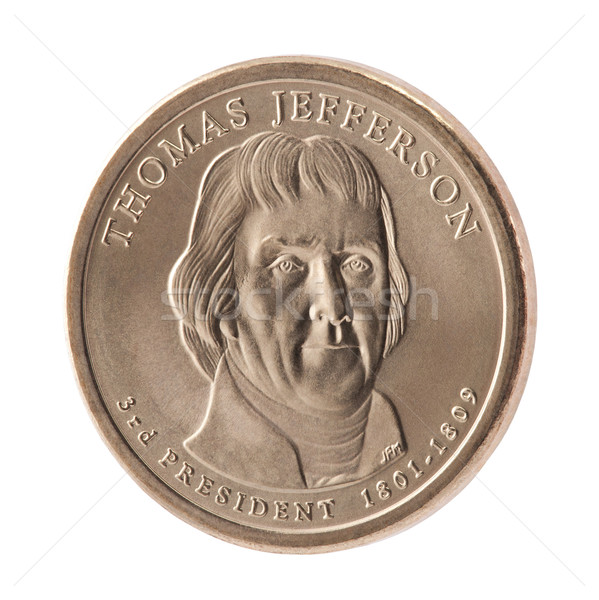 Thomas Jefferson Presidential Dollar coin with clipping path Stock photo © sqback