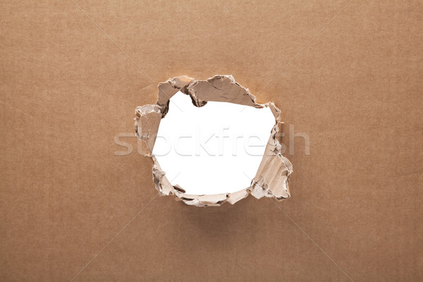 Ripped hole in cardboard on white background with clipping path  Stock photo © sqback