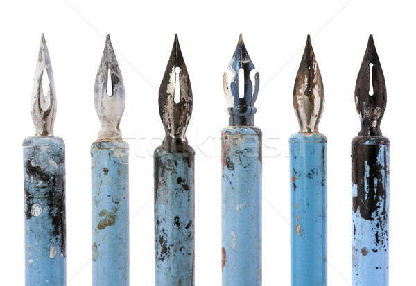Collection of old blue pens isolated on white Stock photo © sqback