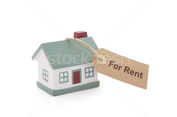 Little house with for rent tag tied with string on white background  Stock photo © sqback