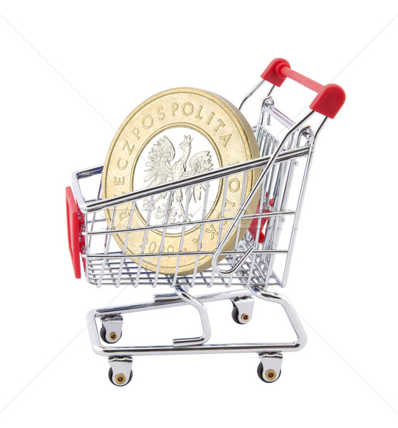 Cesta de la compra moneda blanco negocios metal compras Foto stock © sqback