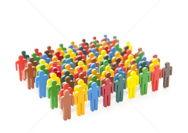 Renkli boyalı grup insanlar beyaz adam kalabalık Stok fotoğraf © sqback