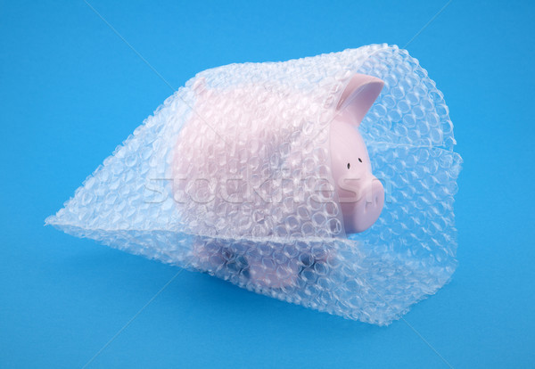 Stock photo: Piggy bank in bubble wrap, protect your money