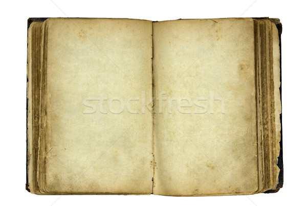 Open old blank book with clipping path. Stock photo © sqback