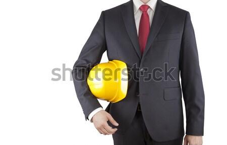 инженер черный костюм желтый шлема изолированный Сток-фото © sqback