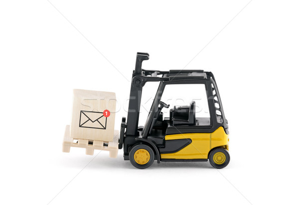 Yellow forklift with new email graphic on wooden block over white background  Stock photo © sqback