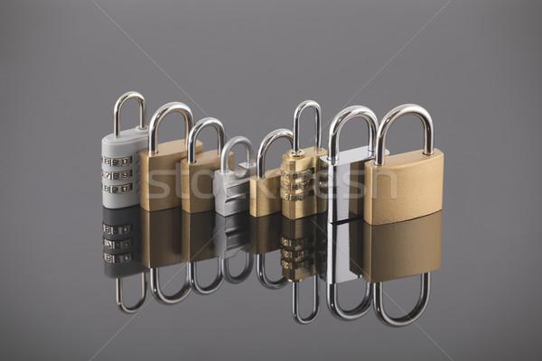 セキュリティ セット 異なる サイズ 金属 鋼 ストックフォト © sqback
