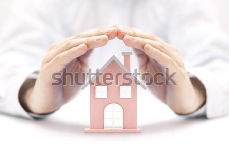 Stok fotoğraf: Ev · adam · inşaat · ev · güvenlik