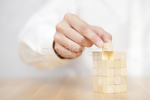 Kéz utolsó hiányzó fából készült hely üzlet Stock fotó © sqback