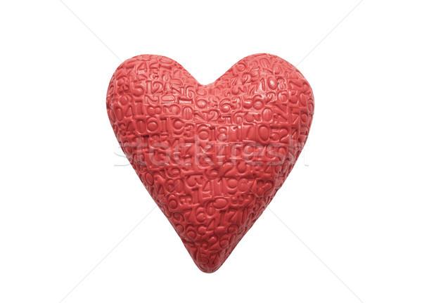 Piros szív számjegyek izolált fehér művészet Stock fotó © sqback