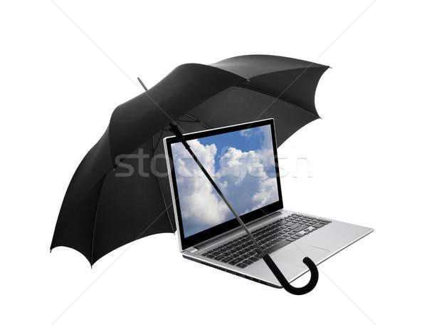 ノートパソコン 保護された 傘 コンピュータ 技術 青 ストックフォト © sqback