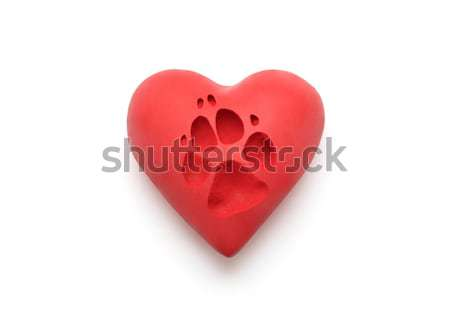 Red heart with dog paw print over white background with clipping path  Stock photo © sqback