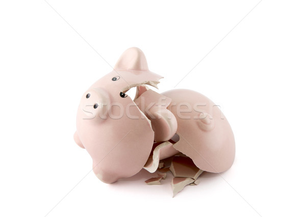 Broken piggy bank on white background with clipping path  Stock photo © sqback