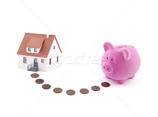 Ahorro casa alcancía monedas miniatura dinero Foto stock © sqback