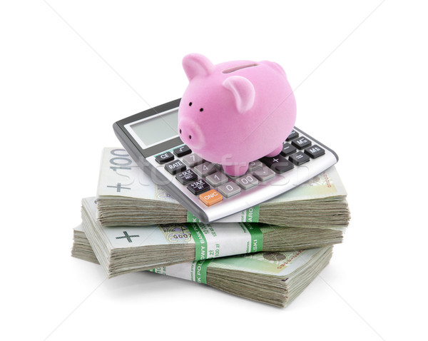 Piggy bank with polish money and calculator  Stock photo © sqback