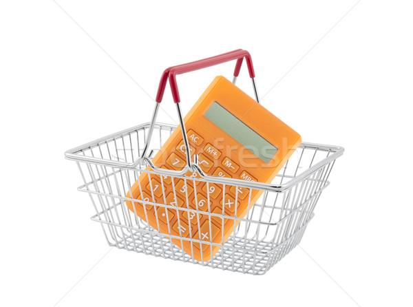 Alışveriş sepeti turuncu hesap makinesi yalıtılmış beyaz alışveriş Stok fotoğraf © sqback